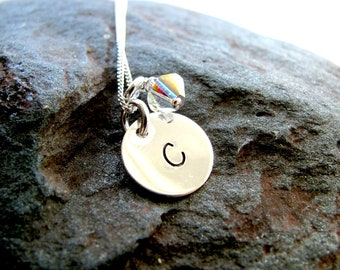 Sterling Silver Hand Stamped Charm Necklace with Pearl or Swarovski Crystal