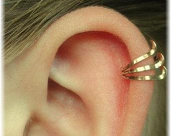 Ear Cuff  - Triple with Twist - Gold Filled, Sterling Silver or Mixed Metals - SINGLE SIDE