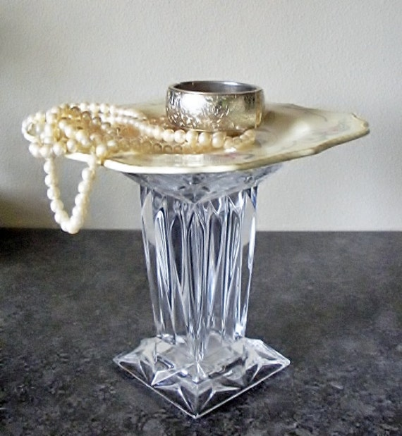 Vintage cupcake stand cakestand dessert pedestal stand repurposed china upcycled cut glass crystal vase candle holder jewelry stand