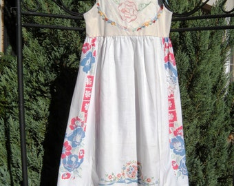 Vintage Linen Blue Themed Dress Size 6/7