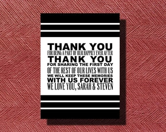 Wedding Day Thank You Card Sign or Poster