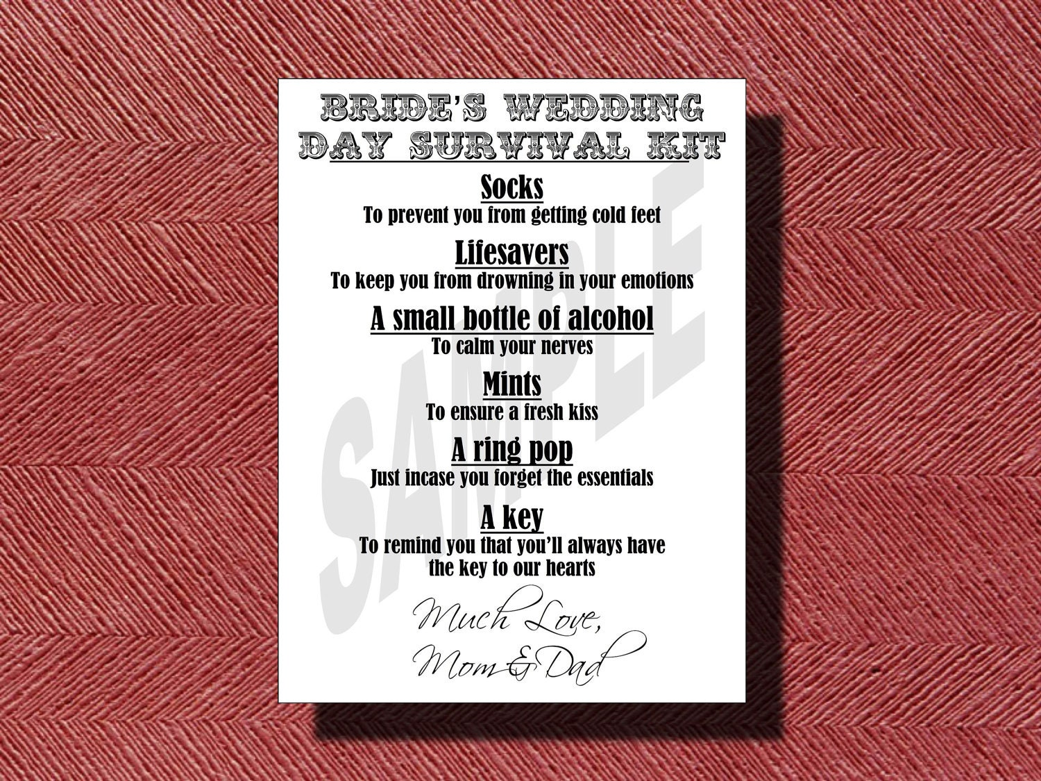 Wedding Day Bride S Survival Kit Card