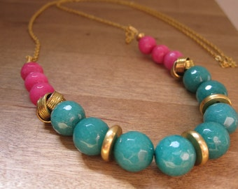 Teal and hot pink neon colour block long gold necklace