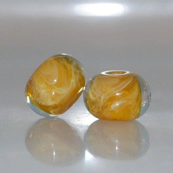 Honey Butterscotch Handmade Lampwork Glass Bead Pair