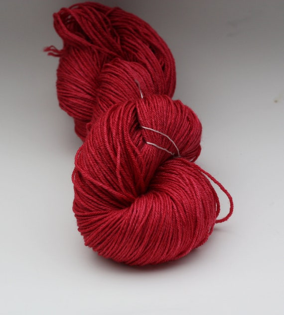 30% off - Silky Merino - 100 grams Color Crimson Red Semi Solid Hand Dyed Yarn