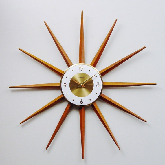 mid century modern starburst clock atomic wall clock