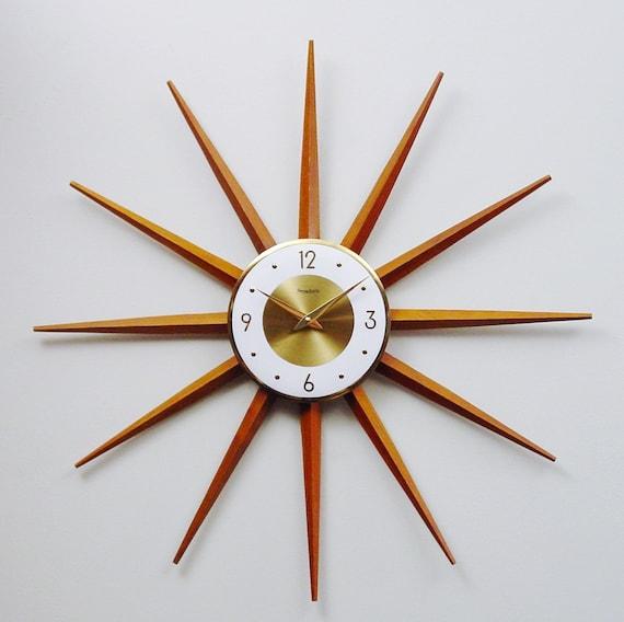 mid century modern starburst clock atomic wall clock