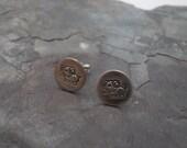 Elephant stud earrings metal stamped