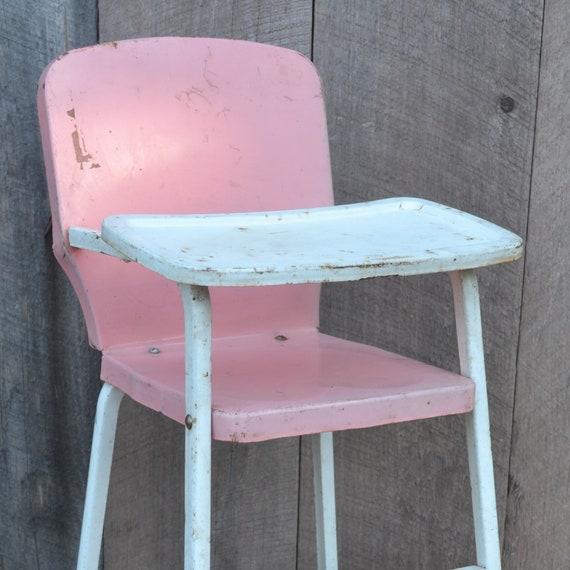Doll High Chair Pink White Metal Tin Cosco Doll E Hichair
