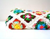 Vintage crochet granny square white floral blanket