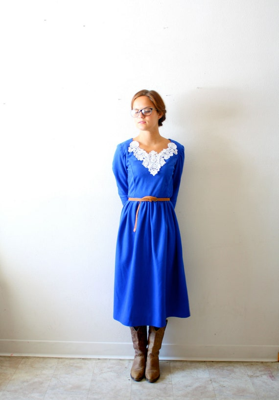 Vintage baby doll lace blue dress