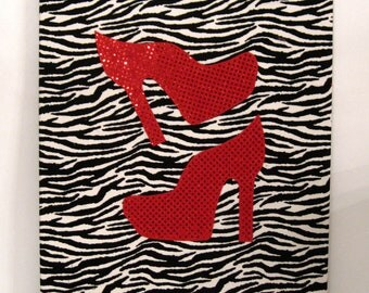 wall art High heels shoe Animal print metallic red 18 X 24 inches