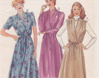 Cute Mock Wrap Front Dress Butterick 3962 Size 12 Sewing pattern