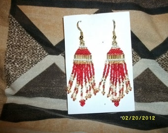 Red n Gold Bead Feather Earrings