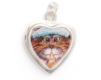Broken China Jewelry Orange Kitty Cat Charm 21