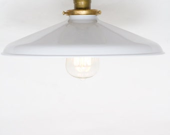 "Industrial Gloss White 12"" Porcelain Enamel Shade Edison Flush Mount Light"