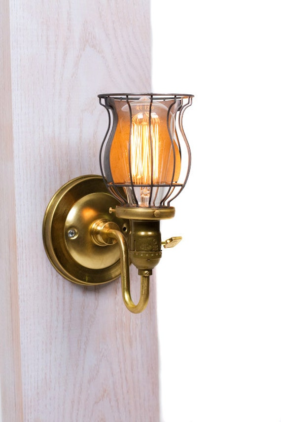 Brass Loop Arm Open Cage Bare Bulb Vintage Style Paddle Key Socket Wall Sconce