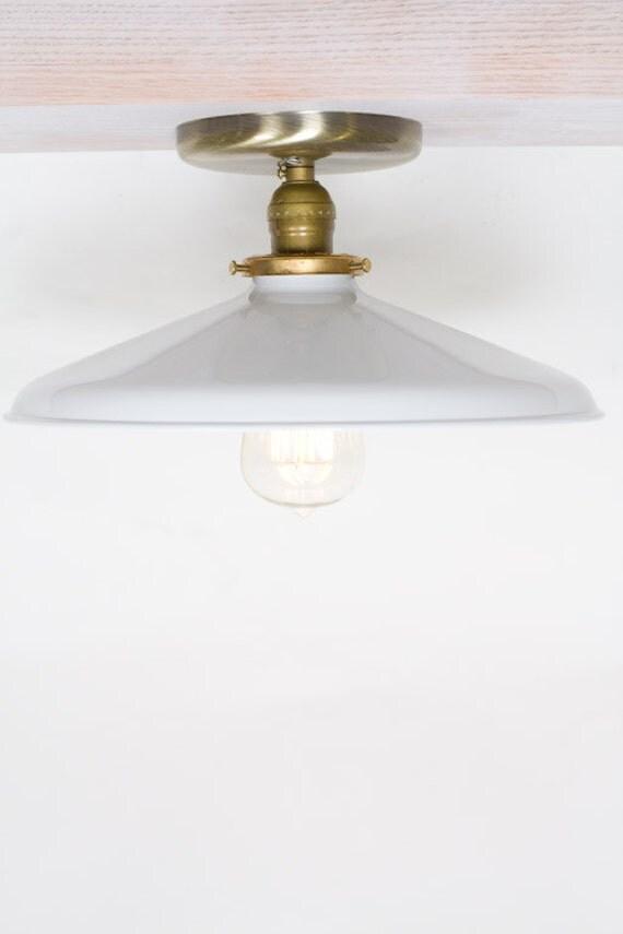"""Industrial Gloss White 12"""" Porcelain Enamel Shade Edison Flush Mount Light ( antique brass or chrome )"""