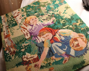 Russian Folk Tales scene - Sister & Brother strayed - embroidered canvas picture