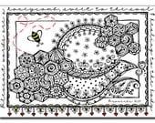 Honeycomb 5x7 Card and Bookmark Doodle Set