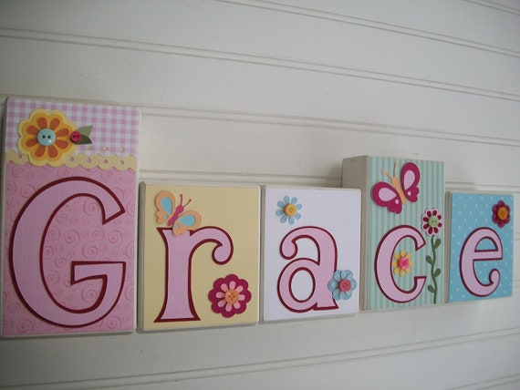 Items similar to baby name letters nursery name blocks for Baby name letters for nursery