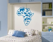 Wall Decal: Africa Safari Animal Map Removable Vinyl Wall Art Sticker - Wall Decor - Safari Decor - WD0005