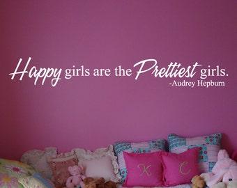 Wall Decal: Happy Girls Are The Prettiest Girls-Audrey Hepburn Vinyl Wall Art Decal Sticker Decor For Girls - Wall Decor - WD0123