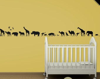 "Safari Animals 10"" Wall Decal Africa Vinyl Wall Art Decal Sticker"