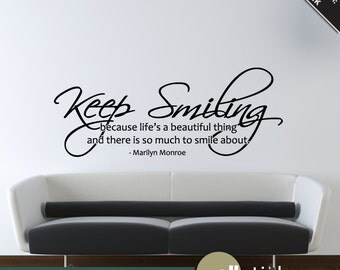 Marilyn Monroe Wall Decal Keep Smiling Quote Living Room Bedroom Decor - WD0133