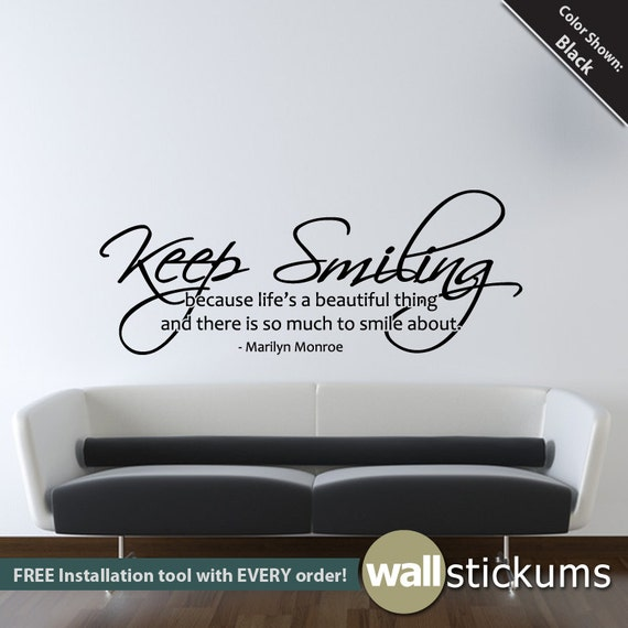 Quote Wall Decals For Living Room : Marilyn monroe wall decal keep smiling quote living room
