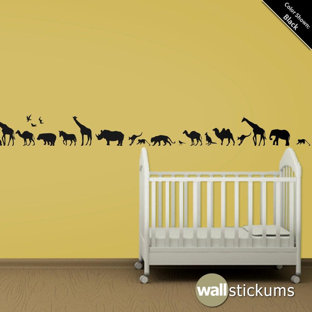 Safari Animals Wall Decal Africa Vinyl Wall Art Decal - Wall decals animalsanimal wall decal animals wall art stickers animal wall