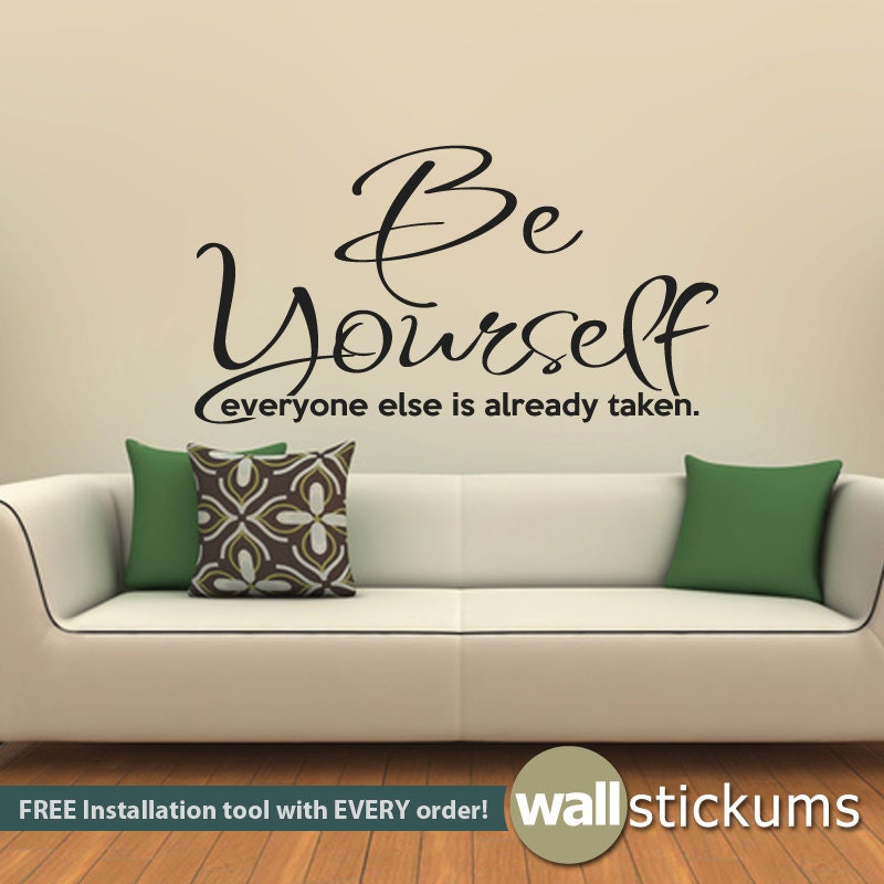 Wall decal be yourself living room bedroom quote vinyl wall for Bedroom vinyl quotes