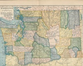 1904 antique color map of Washington state