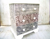 JEWELRY BOX DECOUPAGED Collage Art Jewelry Box Paper Artwork Jewelry Box with Mirror