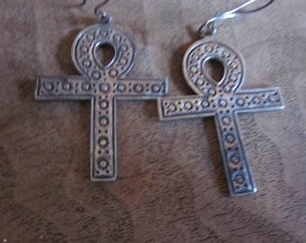 Sterling earrings, crosses, marked, large earrings, pierced earrings