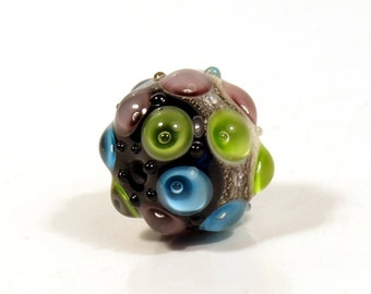 Violet, Blue and Green Lampwork Focal Glass Bead