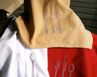 Flatware silverware embroidered kitchen dish towel