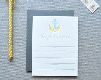 baptism letterpress invitations