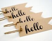 Hello tag set of 8 kraft colored gift tags Christmas tags
