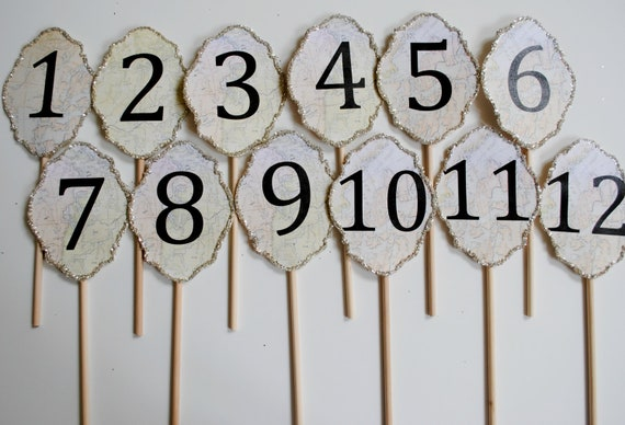 Map Vintage table numbers 1 to 20