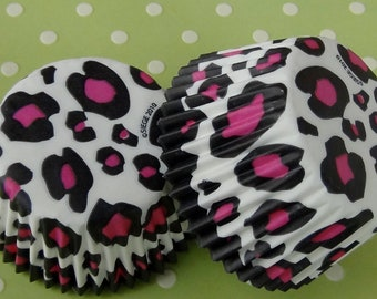 Pink Leopard Cupcake Liners