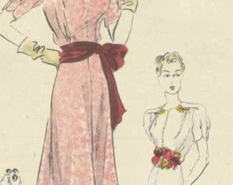 Vintage 40s Vogue dress 8046 Bust 36