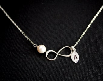 Initial leaf Infinity necklace with pearl, STERLING SILVER eternity necklace - figure 8 necklace, family necklace, figure eight