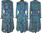 Reserved ~~~~~Vintage 1950s Dress Designer Sheer Femme Fatale Garden Party Mad Man Pinup Bombshell Rockabilly Wedding Office Novelty Print