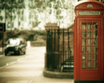 "London Print, London Photograph, London Phone Box and London Cab, red,black ""Mile End"""