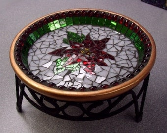 Stained Glass Poinsettia Mosaic Platter Centerpiece