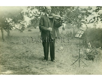 Antique Photograph | Man Playing VIOLIN | Outdoor Recital | Early 1900s Black and White Photo