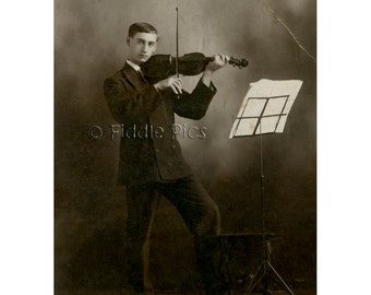 Cabinet Card Photo | Teenage Boy Playing VIOLIN | 19th Century Musical Child