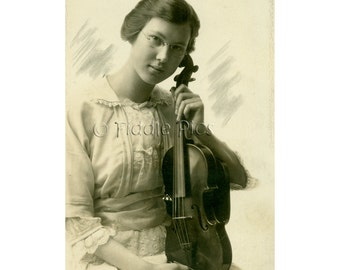 Woman with Violin | 1915 | Female Musician | Sepia Vintage Photo