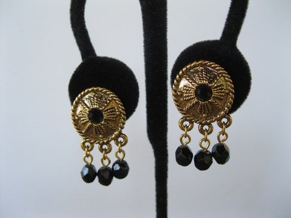 Napier Earrings Gold & Black Beads Dangle Vintage